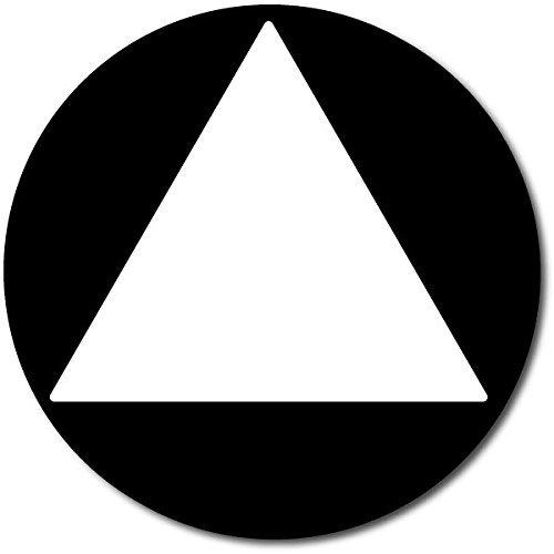 ADA Compliant All Gender Unisex Restroom Door Sign, 12'' Round/Triangle (Black)