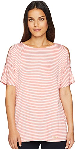 - Jones New York Women's Dolman Sleeve Pullover Coral White Stripe Medium