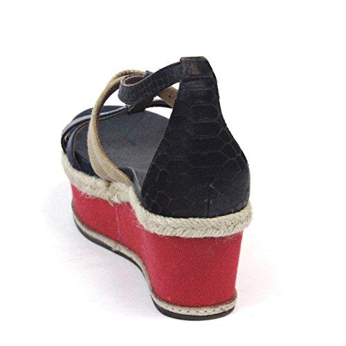 Juicy Couture abierto-para dedo del pie de cuña con interior y pedrería para mujer, estándar del Reino Unido 3,5, de £129 - Regal navy-natural-red