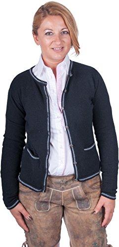 Almwerk Damen Trachten Strick Jacke Diana in grün, blau, grau schwarz und fuchsia, Größe Damen:XL - Größe 42;Farbe:Schwarz/Stein