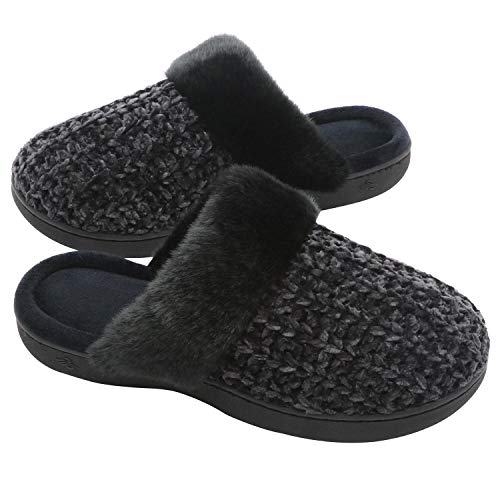 Slippers Flat Memory House Cute Slip Zigzagger Women's Knitted Black Foam On Fuzzy Comfy Indoor zv55PZxnX