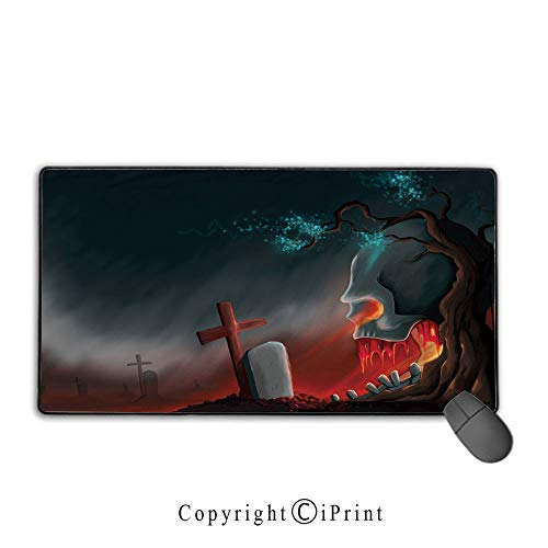 Extended Mousepad with Durable Stitched Edges,Halloween,Graveyard Cemetery Tree with Evil Skull Tomb Stone Cruciform Creepy Fantastic Decorative,Multicolor,Suitable for laptops, computers, PCs, -