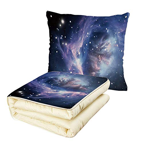 Quilt Dual-Use Pillow Space Decorations Mysterious Nebula Gas Cloud in Deep Ouuter Space with Star Cluster Universe Solar Multifunctional Air-Conditioning Quilt Navy Purple by iPrint