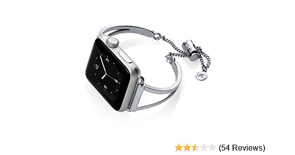 Amazon.com: The Ultimate Cuff Mia Watch Band Adjustable Compatible with Apple Watch Series 1, 2, 3 Silver 38mm: Cell Phones & Accessories