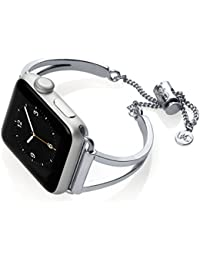 Mia Watch Band Adjustable Compatible with Apple Watch Series 1, 2, 3 Silver 38mm