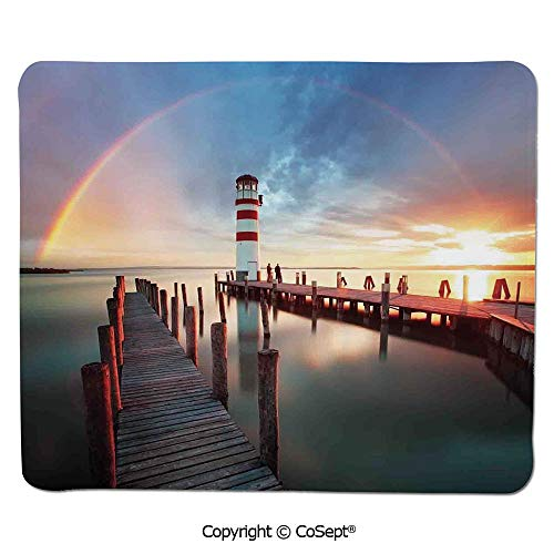 Mouse Pad,Sunset at Seaside with Wooden Docks Lighthouse Clouds Rainbow Waterfront Reflection,for Laptop,Computer & PC (15.74