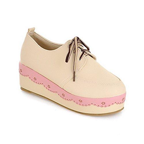 Amoonyfashion Womens Pu Solid Lace-up Tacco Chiuso Tacco A Spillo Scarpe-scarpe Albicocca