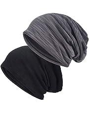 EINSKEY Slouchy Beanie Hat, 2 Pack Baggy Jersey Skull Cap Winter Summer Hat