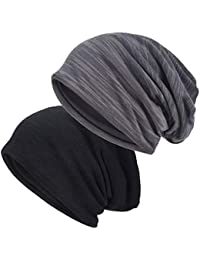 Slouchy Beanie for Men/Women 2-Pack Summer Thin Skull Cap Baggy Oversize Knit Hat