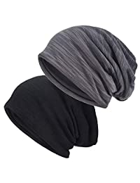 EINSKEY Slouchy Beanie Hat, 2 Pack Winter Thin Jersey Warm Lined Skull Cap Summer Hat