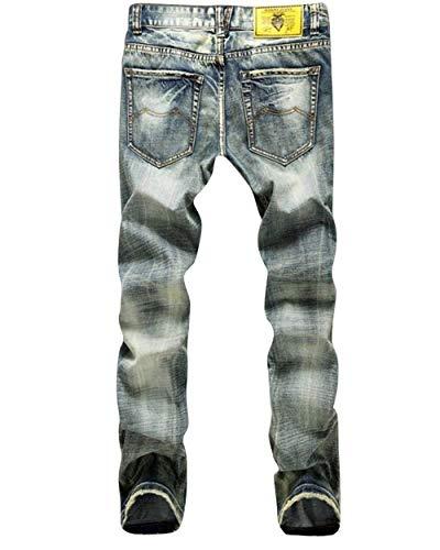Alsbild Distrutto Comode Skinny Pantaloni Da Di Effetto Uomo Moda Denim Retrò Taglie Biker Casual Abiti Elasticizzati In Jeans 81AqT8zw