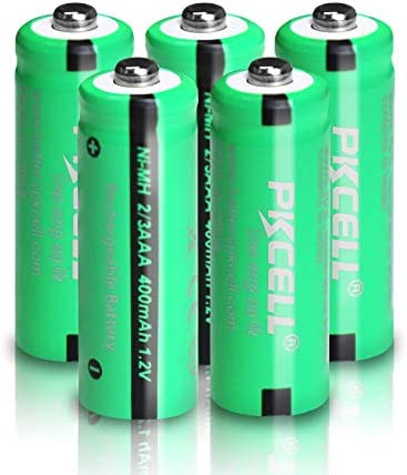 NIMH 2/3AAA Battery 1.2V 400mAh Rechargeable Battery Button Top (5pcs)(They are not AAA Size Batteries)