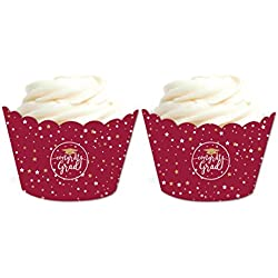 Andaz Press Burgundy Maroon and Gold Glittering Graduation Party Collection, Cupcake Wrappers, 20-Pack