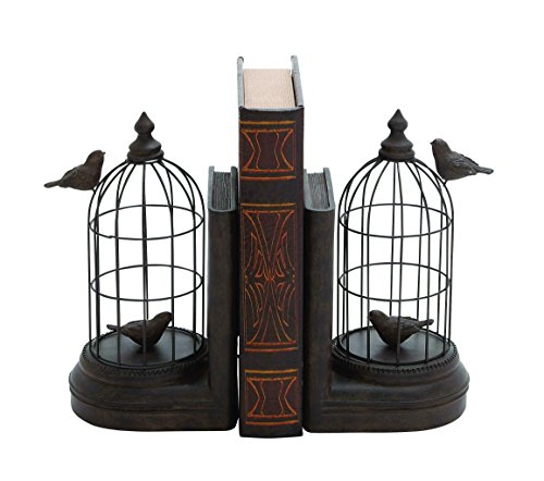 Benzara A Pair of Metal and Poly Stone Bird Cage Bookend