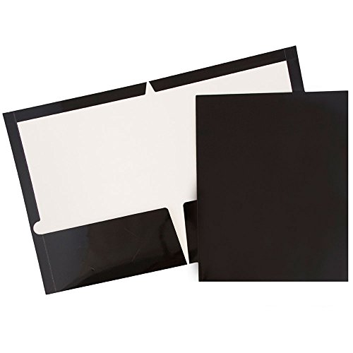 Two Pocket Black Glossy Presentation Folder (9 1/2 X 11 1/2) - 100 per box by JAM Paper