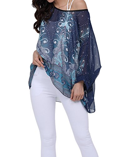 - Nicetage Bohemian Floral Chiffon Blouse Casual Batwing Blouse Hippie Semi Sheer Loose Tops 4295