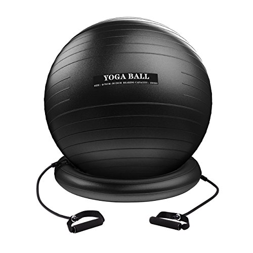 Homitt Exercise Yoga Ball, Gym Ball Anti Bust Stability Ball Set with Stability Ring, Resistance Bands, Foot Pump Improve Balance, Core Strength, Stay in Shape, Physical Therapy for Home, Office, Gym