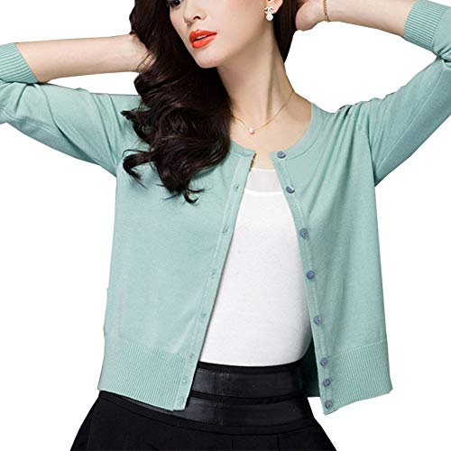 Les umes Women's Satin Natural Silk Long Sleeve Button Down V Neck Sweater Cardigan Light Green US 2 by Les umes (Image #1)