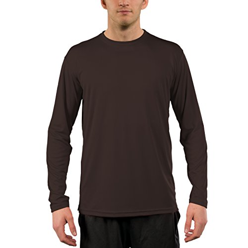 - Vapor Apparel Men's UPF 50+ UV Sun Protection Performance Long Sleeve T-Shirt Medium Bark Brown