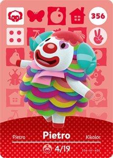 Amazon.com: Pietro - Nintendo Animal Crossing Happy Home Designer Series 4 Amiibo  Card - 356: Video Games