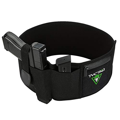 Belly Band Holster for Concealed Carry | Fits Gun with Rail-Mounted Laser | Neoprene Elastic CCW IWB Belly Holster for Pistols, Revolvers, Handguns | Support Glock, S&W Shield, Ruger LCP and more