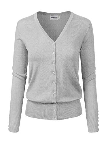 Design by Olivia Women's Classic Button Down Long Sleeve V-Neck Soft Knit Sweater Cardigan Light H.Grey L ()