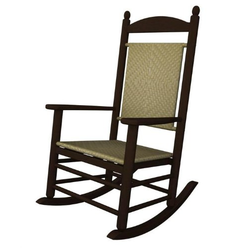 (Rocker Jefferson Woven Chair Frame Finish: Mahogany, Seat/Back Finish: White Loom)