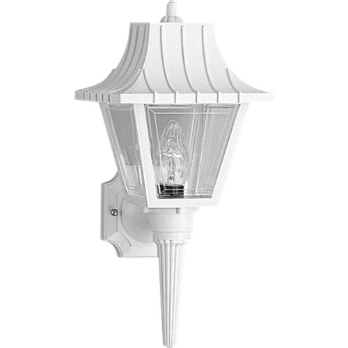 815-30 Wall Torch with Ribbed Mansard Roof Beveled Clear Acrylic Panels, White (Progress Wall Torch)