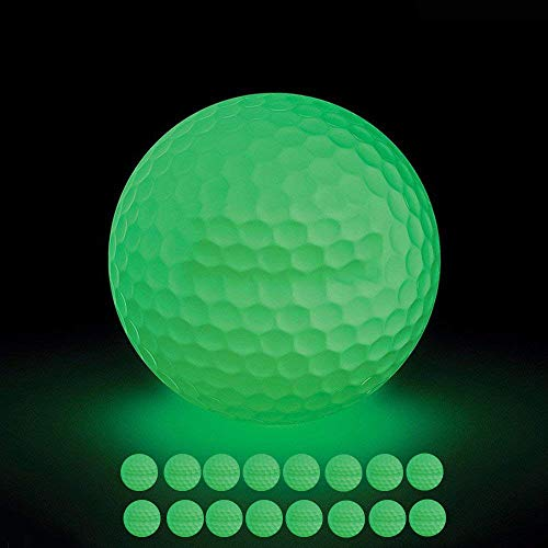 VintageBee 16 Pack Luminous Night Golf Balls Glow in The Dark Best Hitting Tournament Fluorescent Golf Ball Long Lasting Bright Luminous Balls No LED Inside,Rechargeable Sunlight Flashlight ()