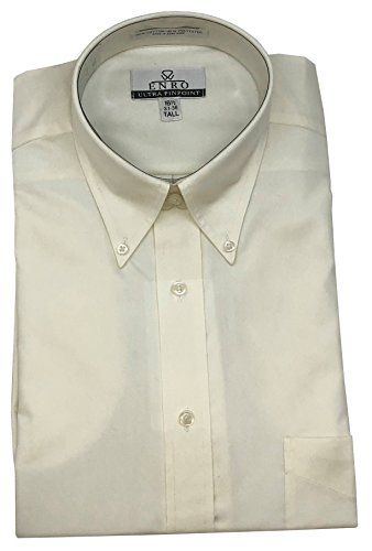 Enro Ultra Pinpoint Button Down Collar Big & Tall Size Dress Shirt (ECRU, 16.5