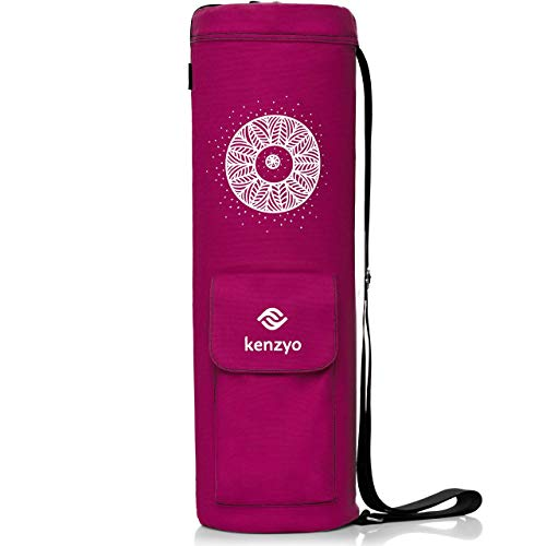 Kenzyo Purple Yoga Mat Bag and Carrier – with Multi-Functional Storage Pockets, Adjustable Shoulder Strap, 4 Air Vents and Full Zip for Easy Access Review