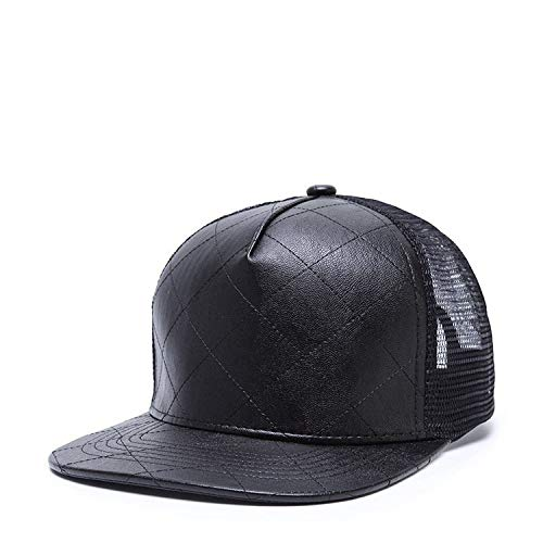 Full Hat Cap Baseball for Men Black Pu Leather Hip Hop Baseball Cap Mesh Flat Brim Hats