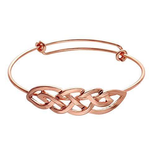 SENFAI Celtic Knot Infinity Expandable Bracelets Good Luck Cross Vintage Bangle (Rose Gold) ()