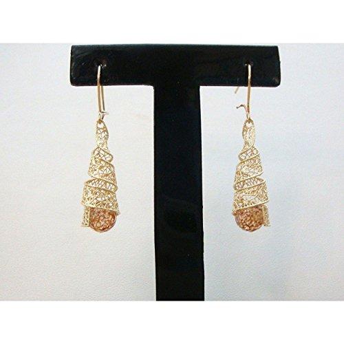 Damiata Bijoux-Boucles d'oreilles pendantes à cône en or jaune 18 carats avec Quartz
