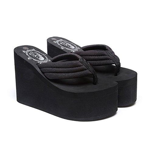 Infradito A Buon Mercato Per Donna Infradito Sandalo Con Zeppa Nero-11cm