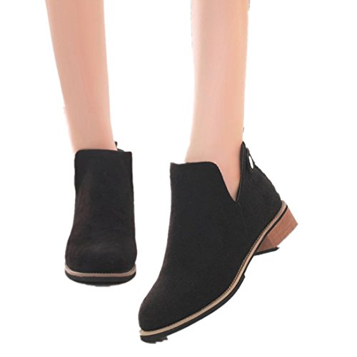 Woman Motorcycle Ankle Boots Low Heels Platform Autumn Shoes Martin Boots (US:7.5, Black)