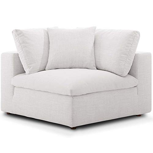 Modway Commix Down-Filled Overstuffed Upholstered Sectional Sofa Corner Chair in Beige