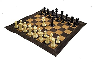 """Wigano 19""""X19"""" Genuine Roll-Up Leather Tournament Chess Set - Filled Solid Chess Pieces With (Two Extra Queens) & Roll-Up Vinyl Leather Chess Board By"""