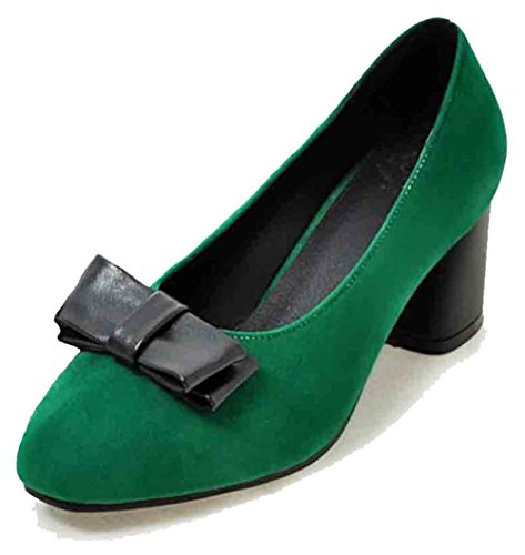 Easemax Rétro Femmes Faux Suede Arcs Couture Orteil Carré Bas Haut Mi Chunky Talon Pompes Chaussures Vert