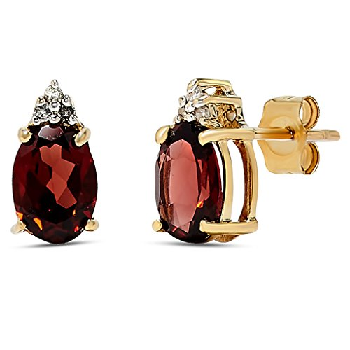 14k Yellow Gold Garnet Gemstone and Diamond Stud Earrings, Birthstone of January