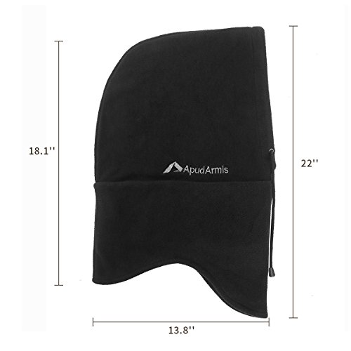 ApudArmis Windproof ski mask Balaclava Outdoor Sports Face Mask Neck Warmer Ski Hood Hat Unisex, One Size, Black