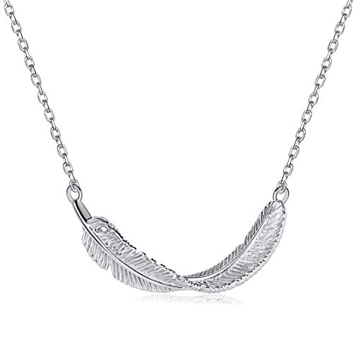 (ChicSilver Feather Pendant 925 Sterling Silver Horizontal Sideways Platinum Plated Necklace for Women 16 Inches)