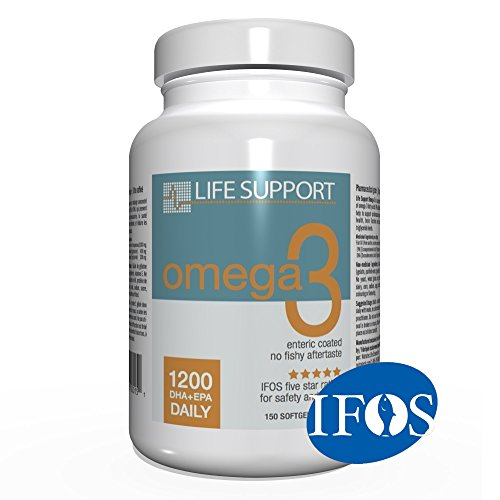 Life Support Omega 3: Enteric Coated. High Absorption. No Fishy Aftertaste. High EPA and DHA Omega 3 Essential Fatty Acids Support Heart, Brain, Joints and Immune System. Easy To Swallow (Canada 200 Capsules)