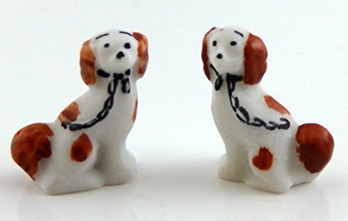 Melody Jane Dolls Houses House Miniature Ornament Fireplace Accessory Pair Staffordshire Dogs Br