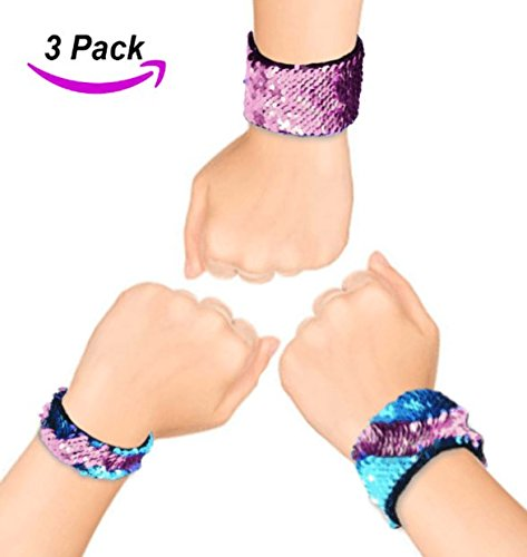 Mermaid Bracelets, Birthday Party Favors & Gifts for Kids Girls Boys Women, 2 Color Reversible Magic Flip Sequins Slap Bracelet w Velvet Lining Calming Wristband (2 sizes) (Blue Pink) by TrustHAD (Reversible Kids Snap)