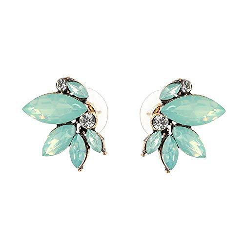 Art Deco Antique Vintage Style Sea Foam Mint Green Tiffan Aqua Blue Opal Marquis Rhinestone Bridal Bridesmaid Wedding Prom Cluster Earrings
