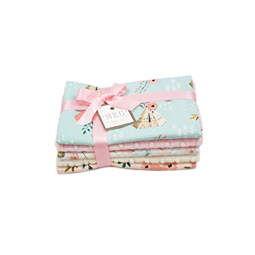 Southern Charm Baby Girl Burp Cloth Set of 5 { TeePees, Flowers, Antlers } MEG Original 197 (Average Amount Of Diapers A Newborn Uses)