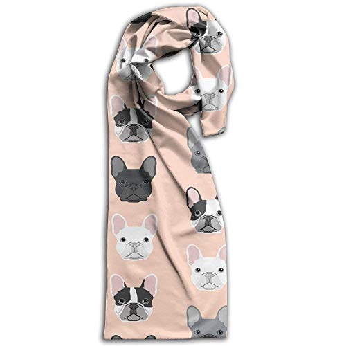 Women's Men's Fall Winter Fashion Scarf Long Shawl Cotton Scarves Print Scarves French Bulldog Portraits Pattern Dog Winter Warm Soft Chunky Large Blanket Wrap Shawl Scarf
