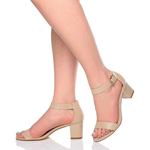 Matte Nude Heel Block Women Size Sandals Strappy Ajvani Mid Cq1n4