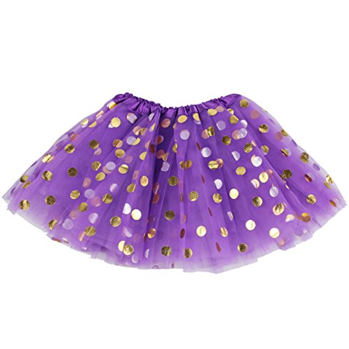 - Jastore Baby Girls' Polka Dot Tutu Glitter Ballet Triple Layer Soft Tulle Dance Skirt (3-10 Years, Purple)
